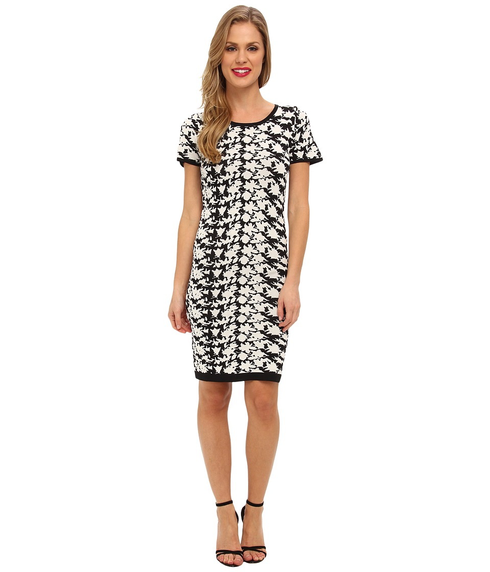 Nicole Miller Hinley Floral Knit Dress (Black/White) Women