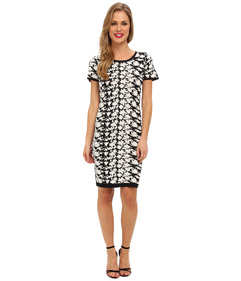 Nicole Miller - Hinley Floral Knit Dress (Black/White) Women