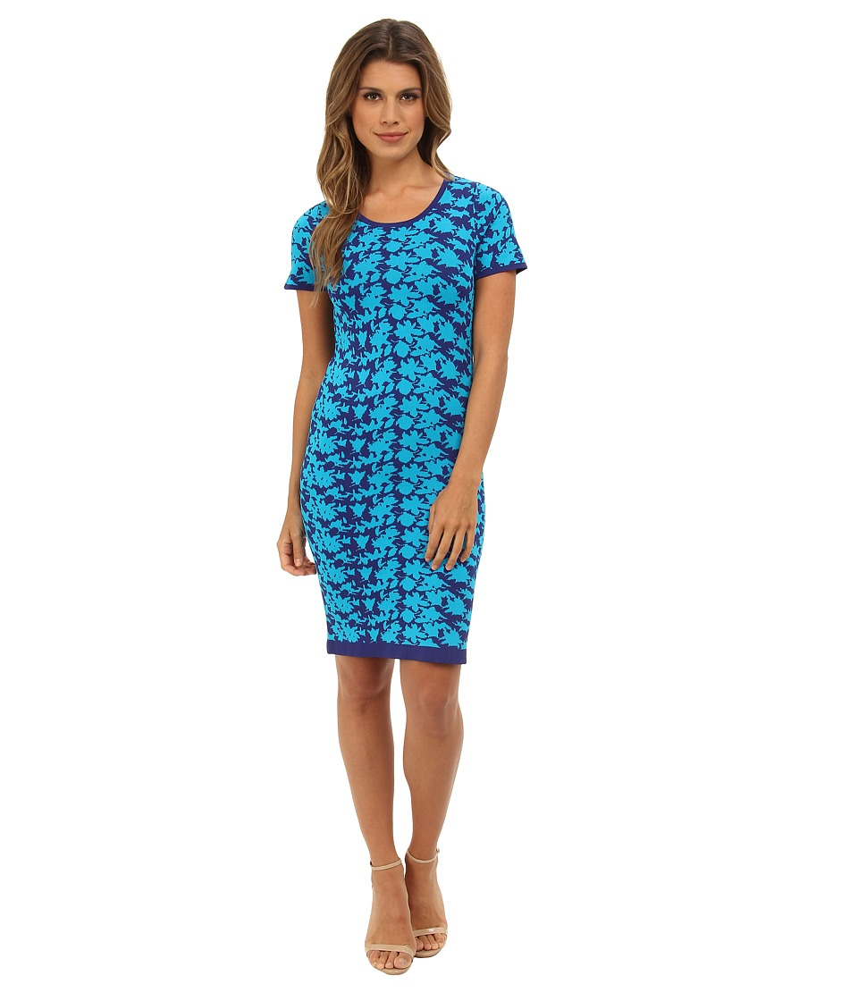 Nicole Miller Hinley Floral Knit Dress (Catalina Blue) Women