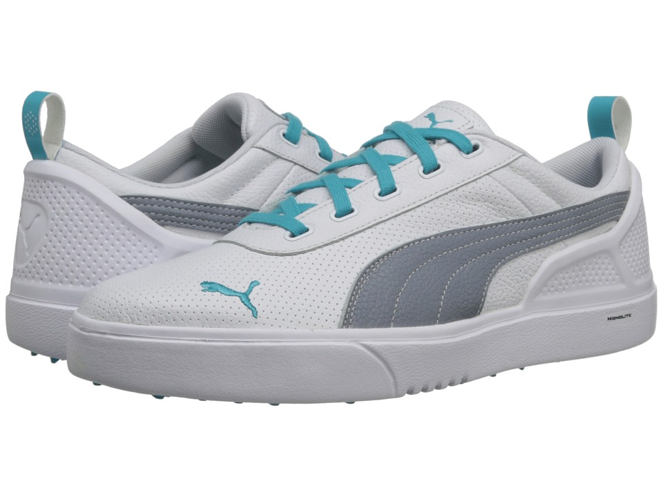 PUMA Golf - Monolite (White/Tradewinds/Scuba Blue) Men's Golf Shoes