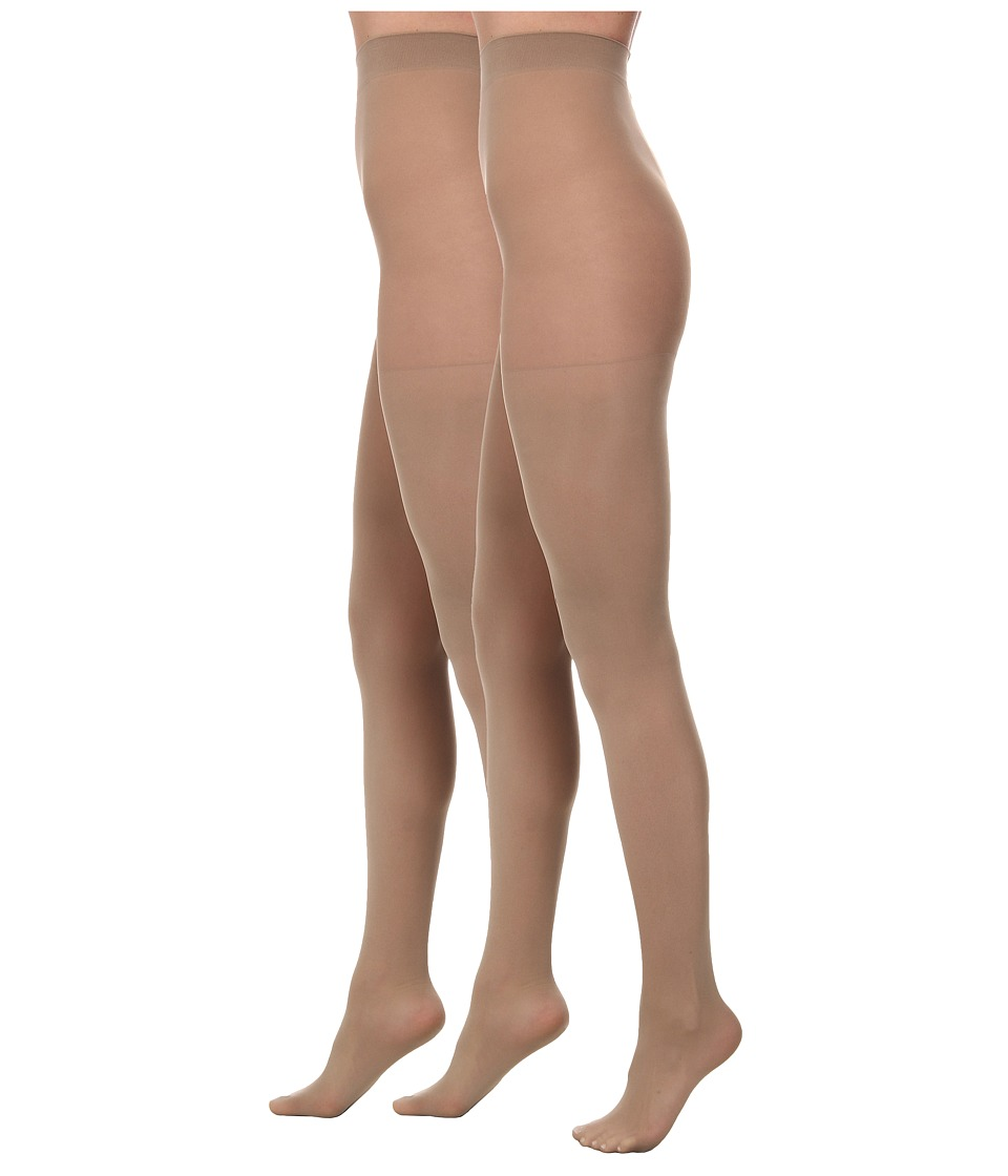 LAUREN Ralph Lauren - Lightweight Opaque Tight 2 Pack (Cement (Nude)) Hose
