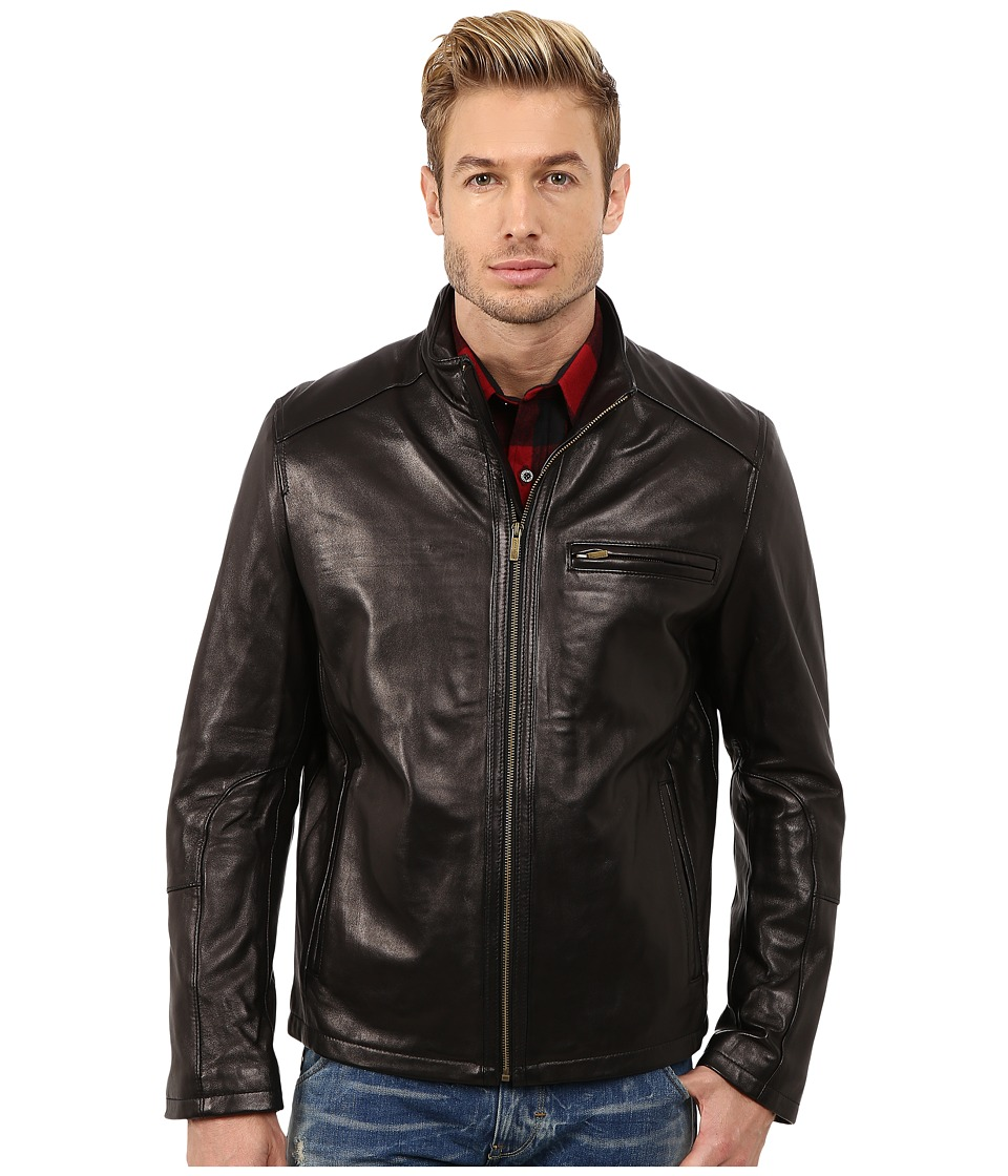 Cole Haan - Smooth Lamb Clean Moto (Black) Men's Jacket