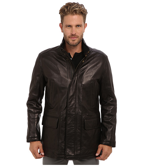 Cole Haan - Smooth Lamb Carcoat (Black) Men's Jacket