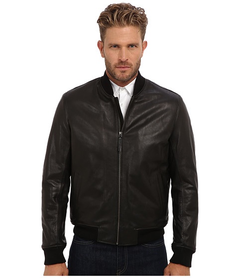 Cole Haan - Grainy Cow Varsity Jacket (Black) Men