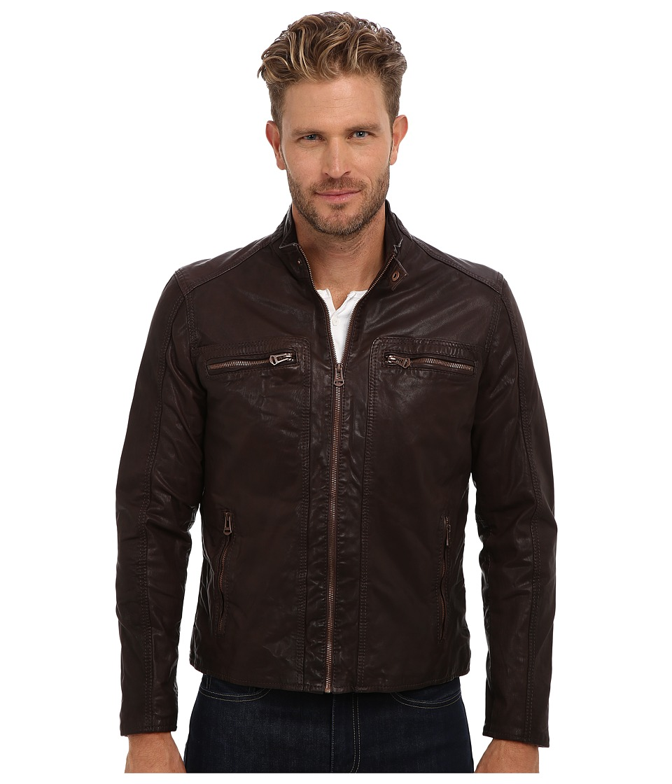Cole Haan - Waxed Leather Moto (Java) Men's Jacket