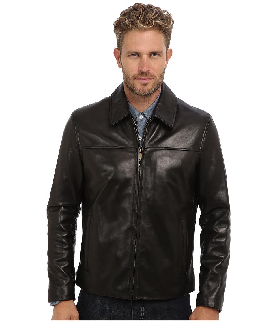Cole Haan - Smooth Lamb Shirt Collar Jacket (Black) Men's Jacket