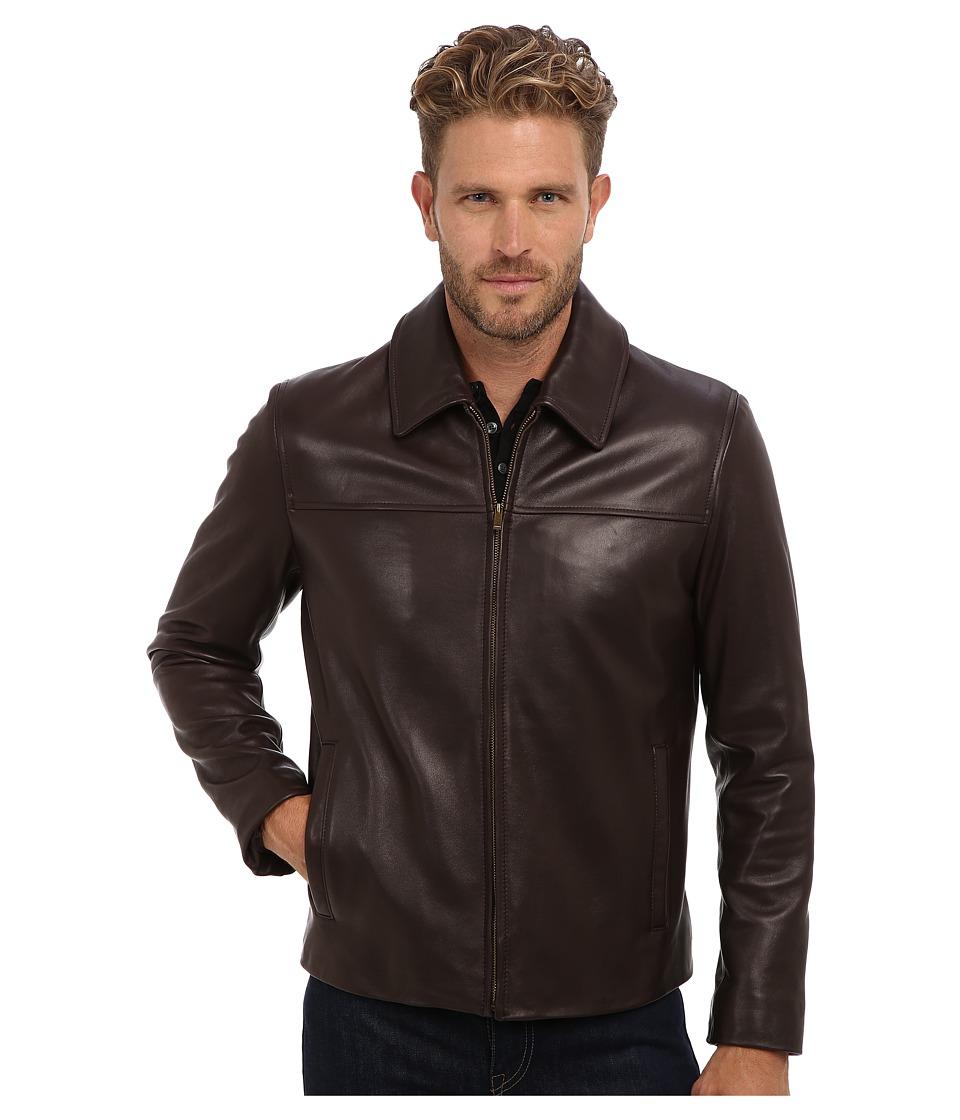 Cole Haan - Smooth Lamb Shirt Collar Jacket (Java) Men's Jacket