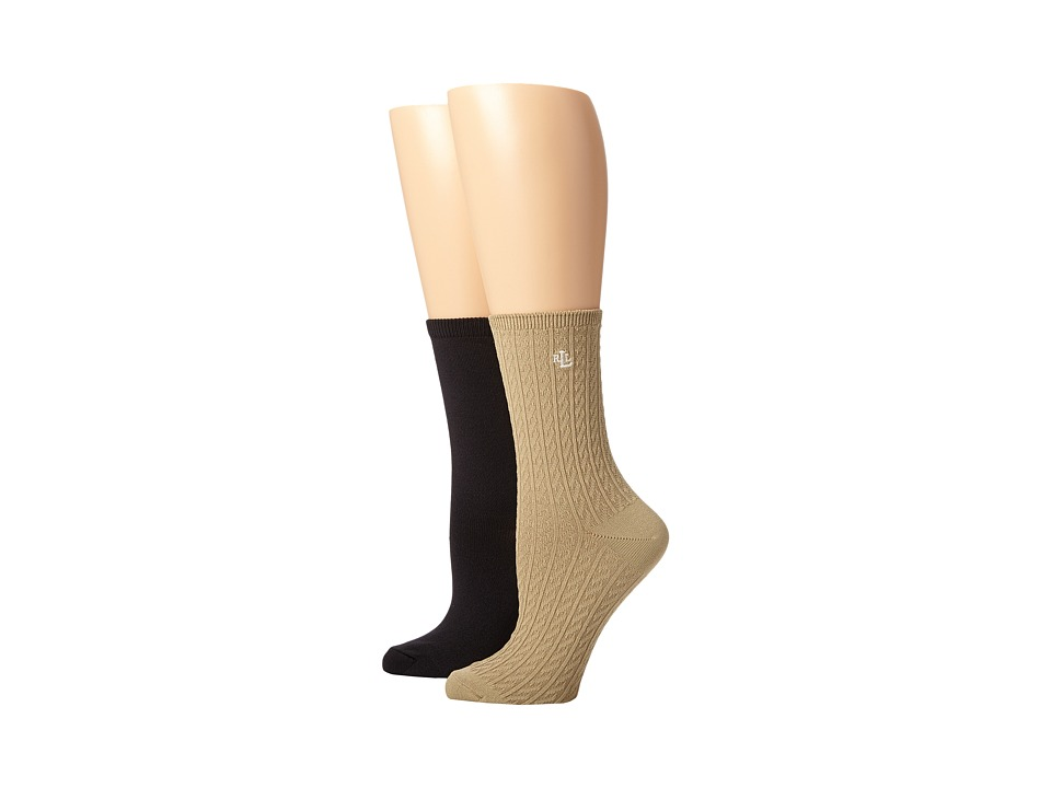 LAUREN Ralph Lauren - Supersoft Cable Trouser 2 Pack (Khakie Assorted) Women's Crew Cut Socks Shoes