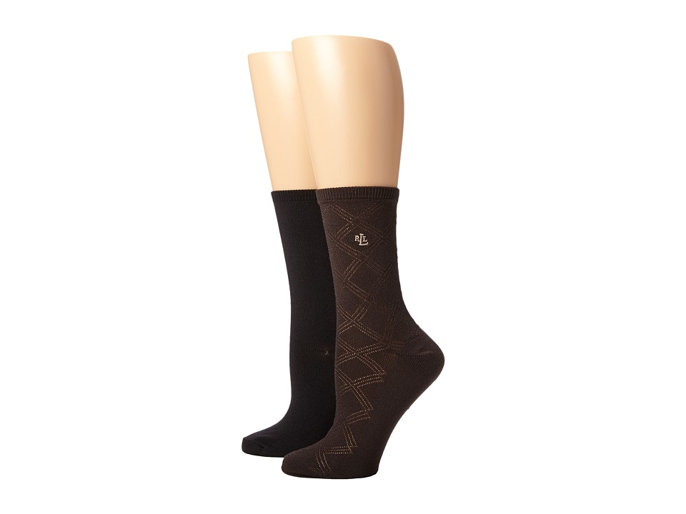 LAUREN Ralph Lauren - Supersoft Big Diamonds Texture Trouser 2 Pack (Dark Brown) Women's Crew Cut Socks Shoes