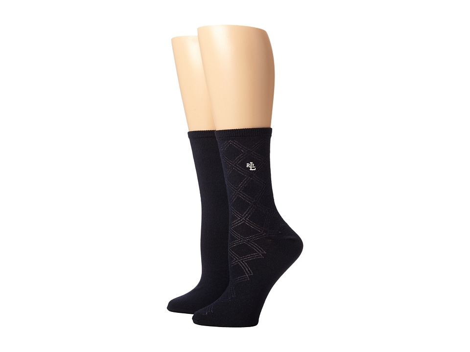 LAUREN Ralph Lauren - Supersoft Big Diamonds Texture Trouser 2 Pack (Navy) Women's Crew Cut Socks Shoes