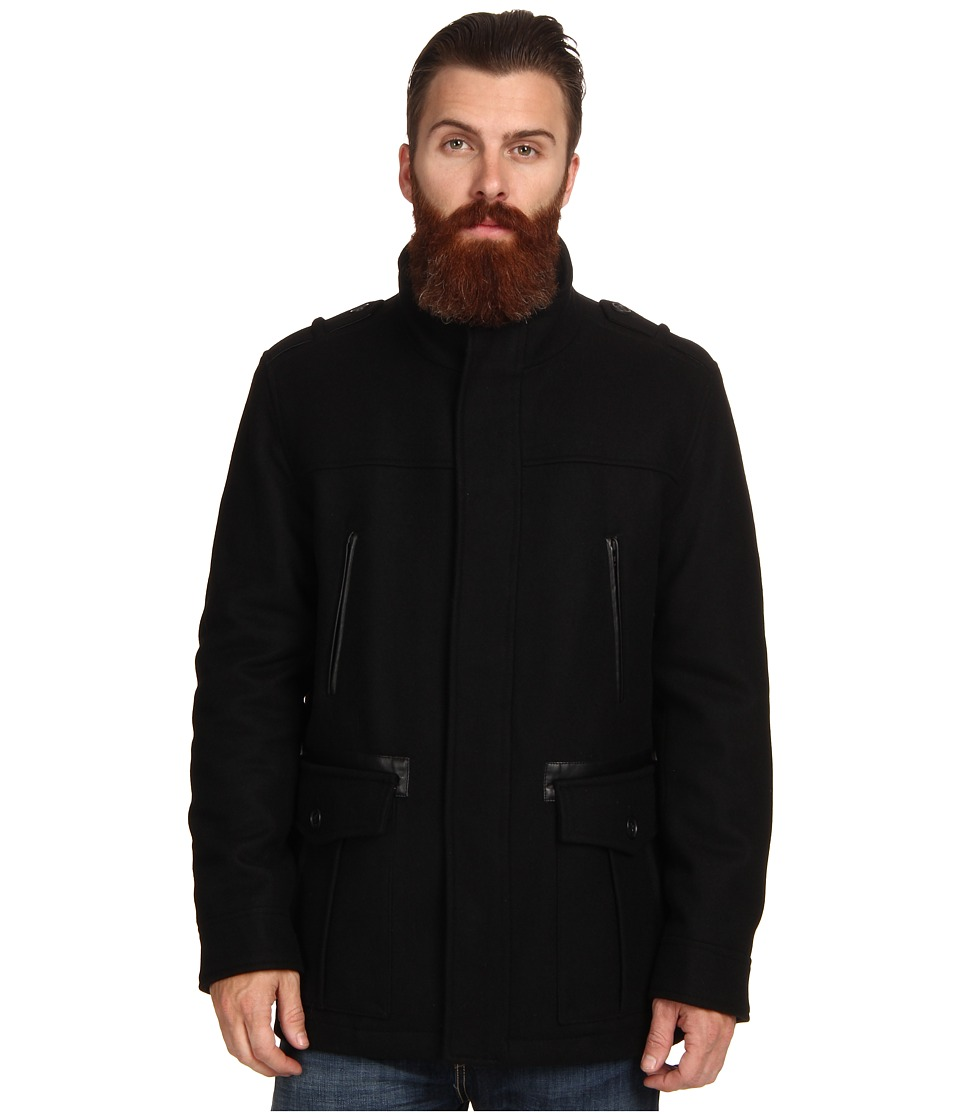 Cole Haan - Wool Melton Carcoat (Black) Men's Jacket