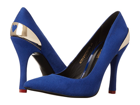 LOVE Moschino - Heart Romance Suede Pump (Blue) Women's Shoes