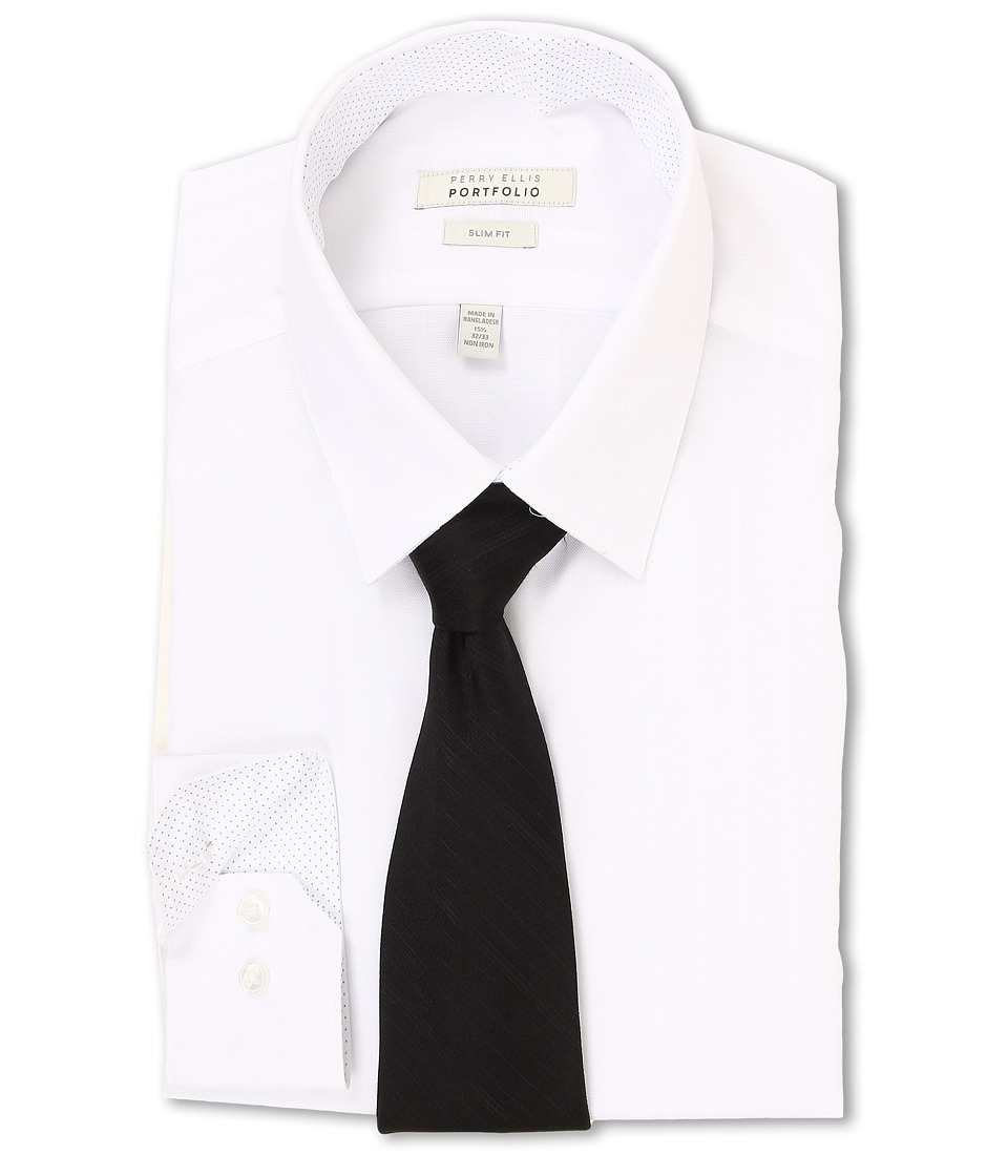Perry Ellis - Slim Fit Tonal Stripe Dress Shirt (White) Men's Long Sleeve Button Up