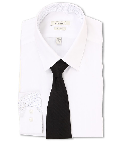 Perry Ellis - Slim Fit Tonal Stripe Dress Shirt (White) Men