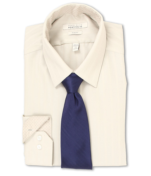Perry Ellis - Slim Fit Tonal Stripe Dress Shirt (Sand) Men's Long Sleeve Button Up