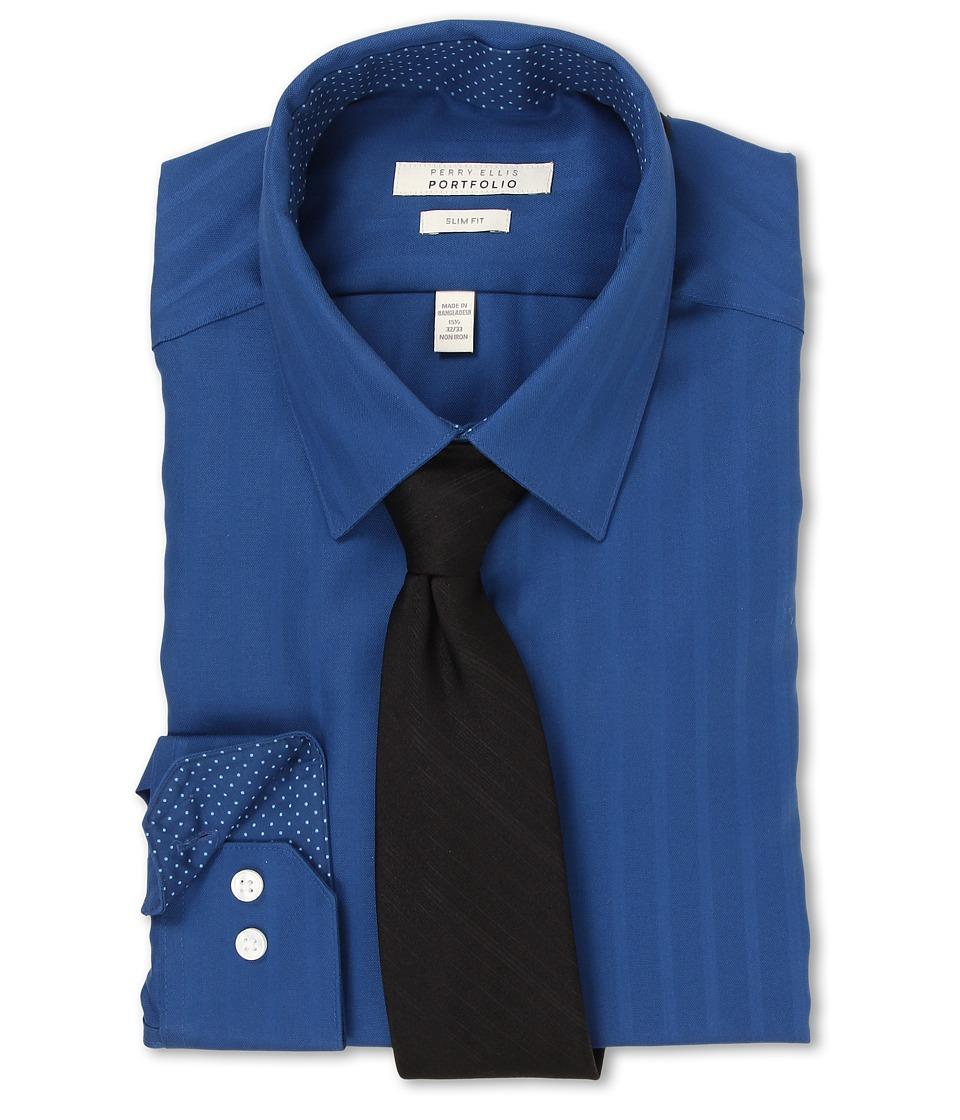 Perry Ellis - Slim Fit Tonal Stripe Dress Shirt (Navy) Men's Long Sleeve Button Up