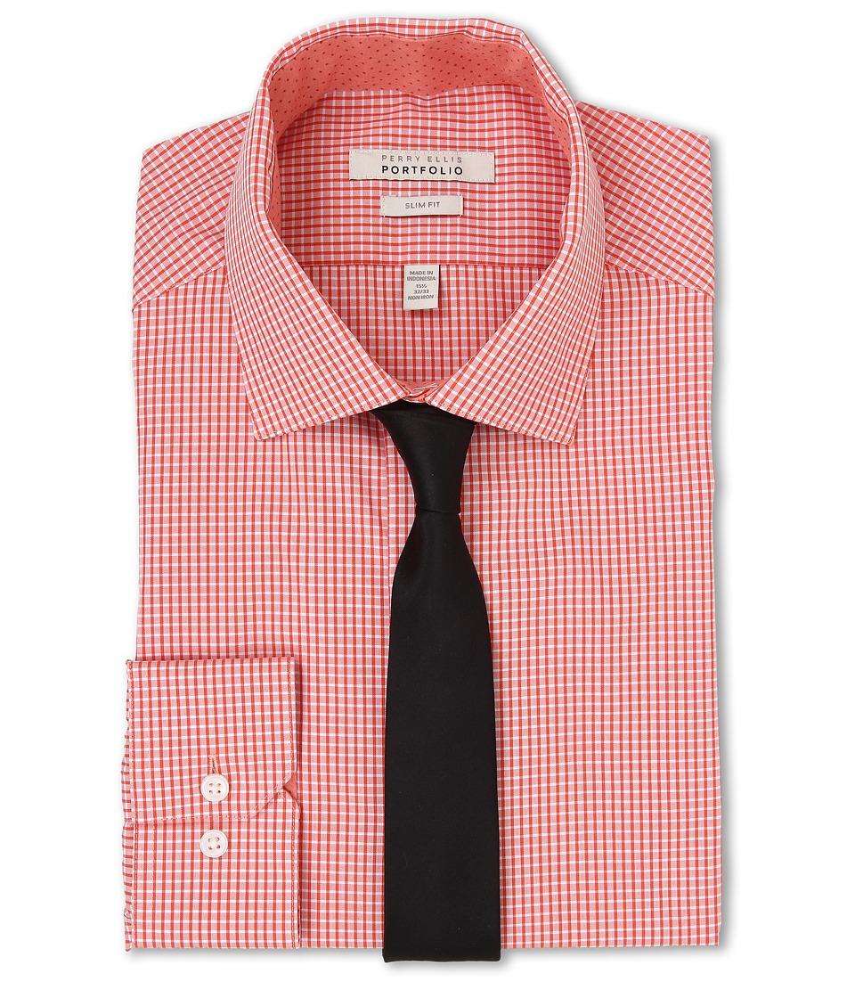 Perry Ellis - Slim Fit Spread Collar Check Shirt (Orange) Men's Long Sleeve Button Up