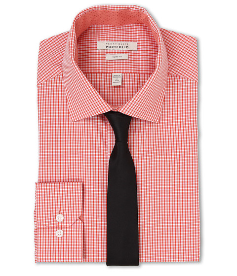 Perry Ellis - Slim Fit Spread Collar Check Shirt (Orange) Men's Long Sleeve Button Up