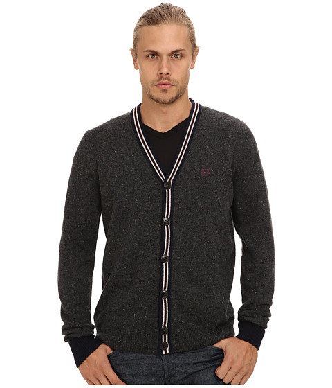 Fred Perry - Fleck Knit Tennis Cardigan (Graphite Marl) Men's Sweater