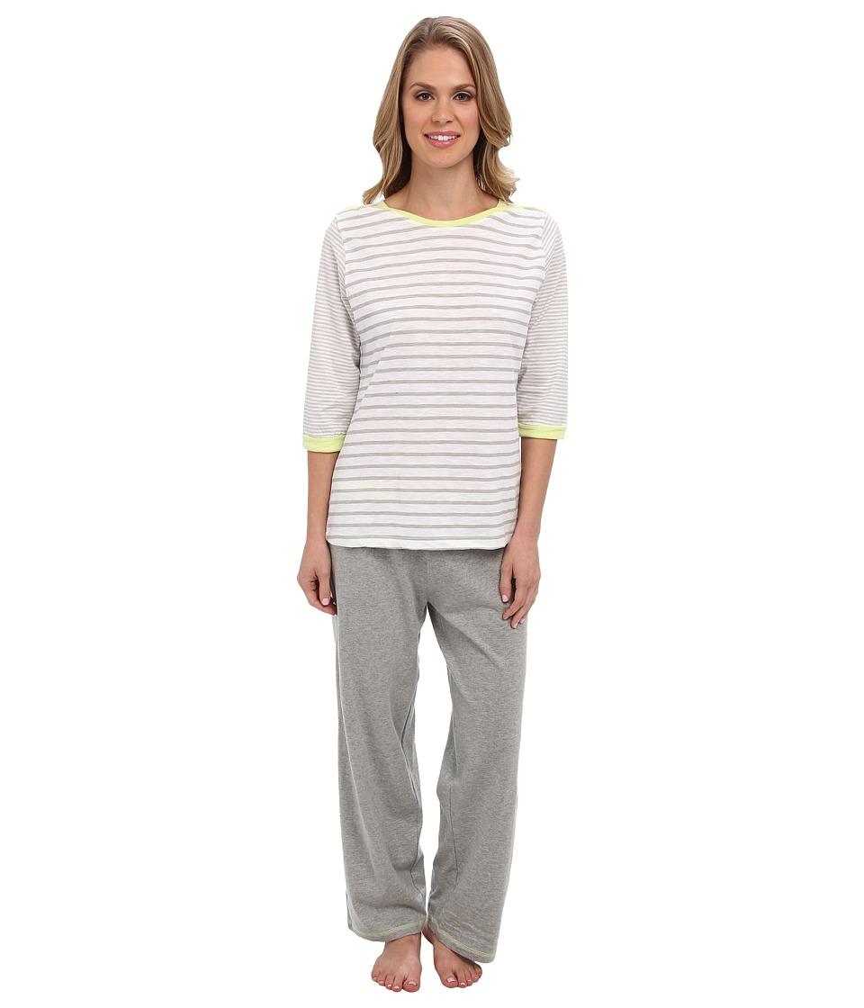 Kenneth Cole Reaction Multi Stripe 3/4 Sleep Top/Crop Pant Set Womens Pajama Sets (Silver)