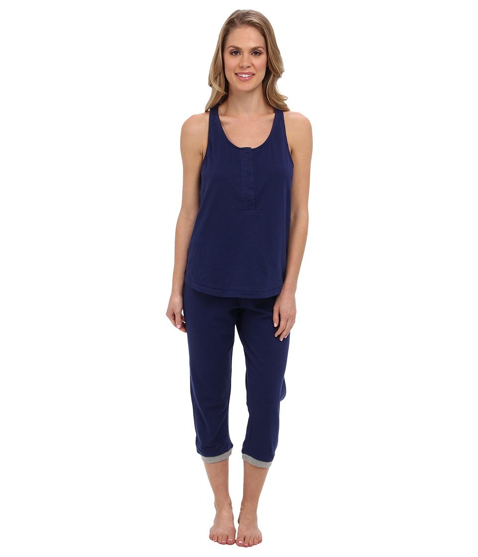 Kenneth Cole Reaction Racerback Tank/Capri w/ Contrast Trim Set Womens Pajama Sets (Blue)