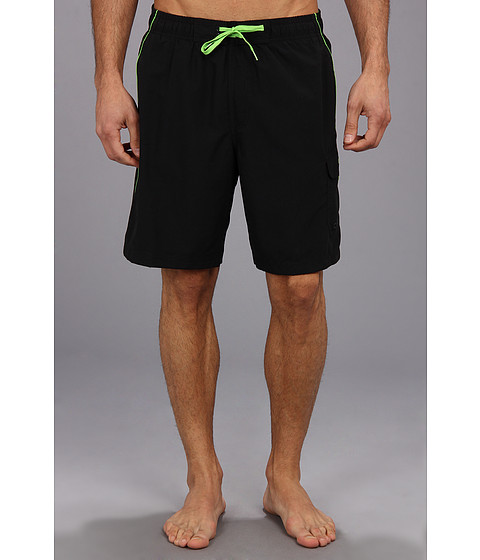 Speedo - Marina Volley Swim Trunk (Black/Green) Men's Swimwear