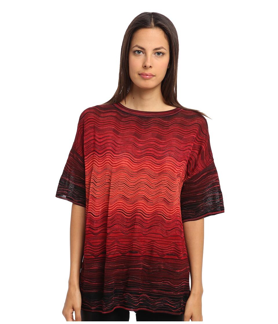 M Missoni - Degrade Ripple Knit Tunic (Red) Women's Short Sleeve Pullover