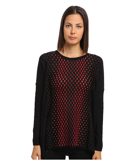 M Missoni - Placed Dash Knit Tunic (Black) Women's Long Sleeve Pullover