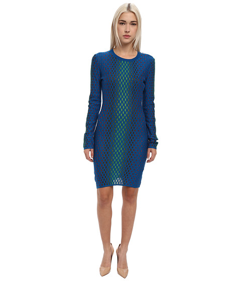M Missoni - Placed Dash Knit Long Sleeve Dress (Bright Blue) Women