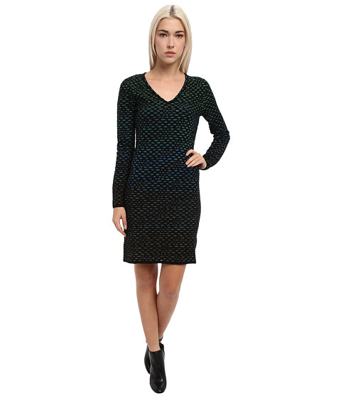 M Missoni - Bubble Knit V-Neck Dress (Black) Women