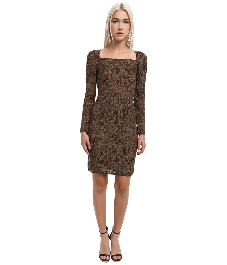M Missoni - Lured Two-Tone Marble Knit Crisscross Dress (Bronze) Women
