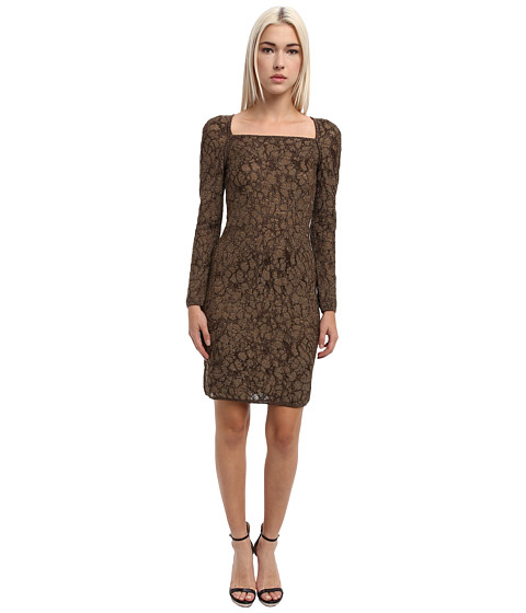 M Missoni - Lured Two-Tone Marble Knit Crisscross Dress (Bronze) Women