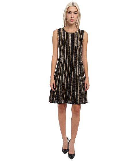 M Missoni - Lurex Vertical Stripe Sleeveless Dress (Black) Women's Dress