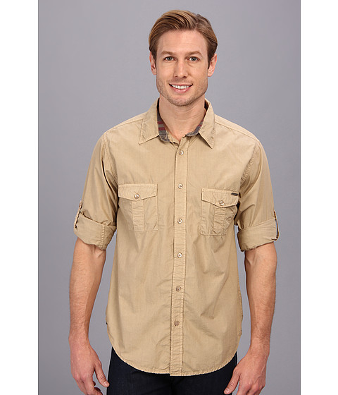 Seven7 Jeans - Poplin Shirt W Roll Cuff (Khaki) Men's Long Sleeve Button Up