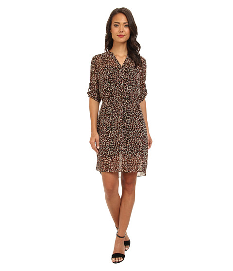 TWO by Vince Camuto - Iconic Leopard L/S Shirtdress (Rich Black) Women