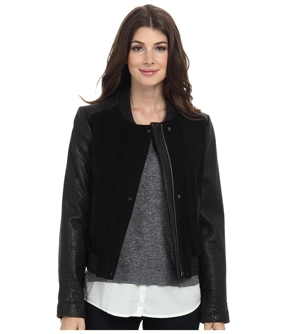 Cole Haan - Bubble Lam Bomber Jacket w/ Wool Body (Black) Women's Coat