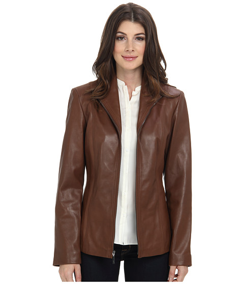 Cole Haan - Modern Lamb Wing Collar Zip Front (Harvest Brown) Women