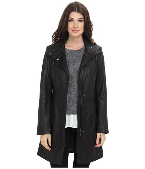 Cole Haan - Modern Lamb Zip Front Car Coat (Black) Women's Coat