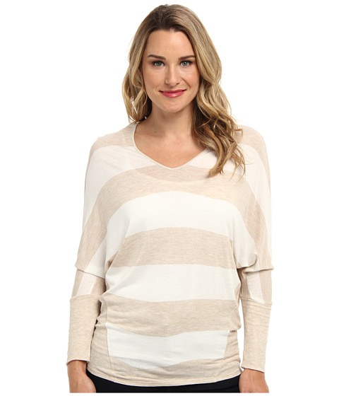TWO by Vince Camuto - Dodge Stripe Saturday Shirt (Camel Heather) Women