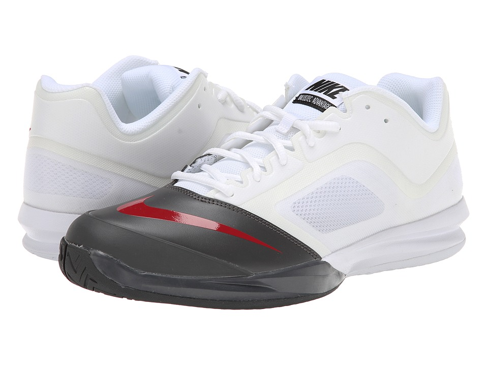 Nike - DF Ballistec Advantage (White/Medium Ash/Black/Gym Red) Men's Tennis Shoes