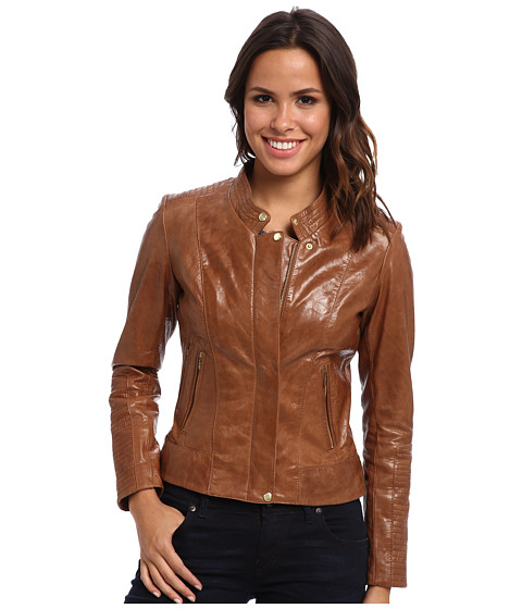 Cole Haan - High Sheen Lamb Moto w/ Gold Hardware (Camel) Women's Coat