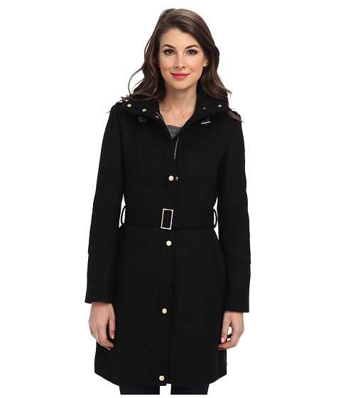 Cole Haan - Wool Twill Single Breasted Belted Coat (Black) Women's Coat
