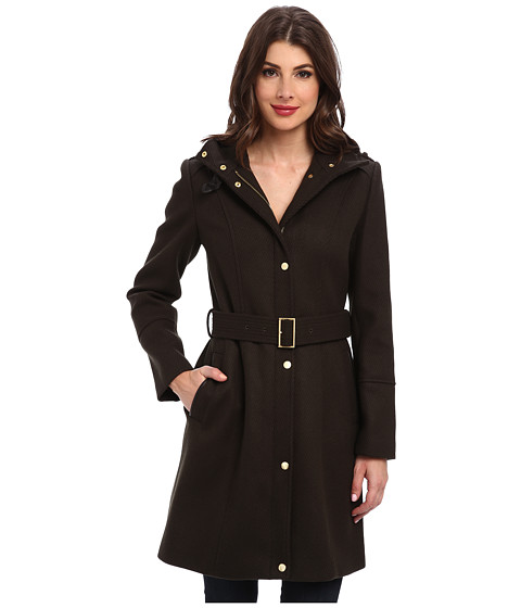 Cole Haan - Wool Twill Single Breasted Belted Coat (Forest) Women