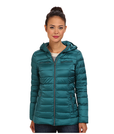 Cole Haan - Sweater Down Light Weight Packable w/ Hood (Shaded Spruce) Women's Coat