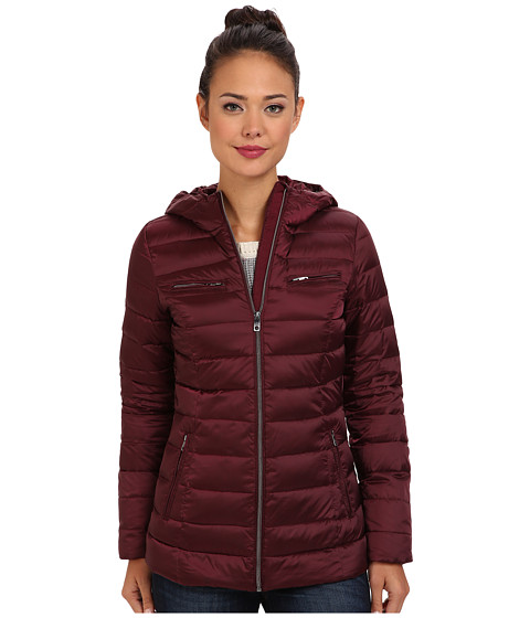 Cole Haan - Sweater Down Light Weight Packable w/ Hood (Chocolate Truffle) Women's Coat