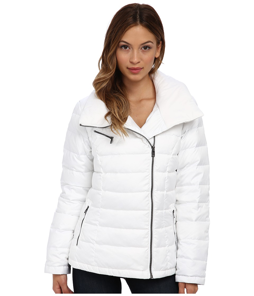 Cole Haan - Light Weight Packable Down w/ Asymmetrical Closure (Optic White) Women's Coat