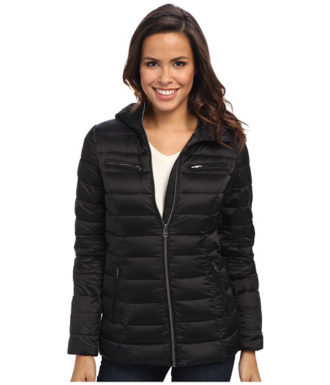 Cole Haan - Sweater Down Light Weight Packable w/ Hood (Black) Women