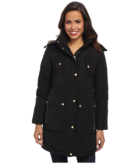 Cole Haan - Taffeta Down Parka w/ Removable Hood Faux Fur Trim (Black) Women