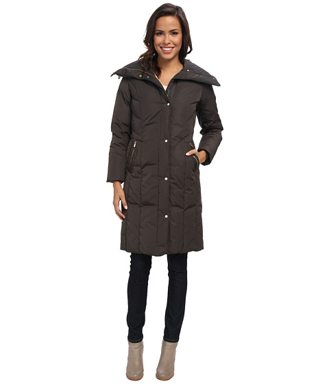 Cole Haan - Taffeta Down Single Breasted w/ Oversized Collar (Storm Cloud) Women's Coat