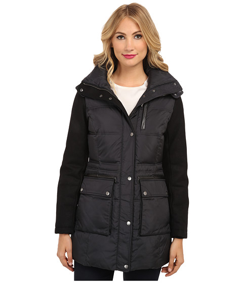 Cole Haan - Essential Down Parka w/ Wool Sleeves (Black) Women's Coat